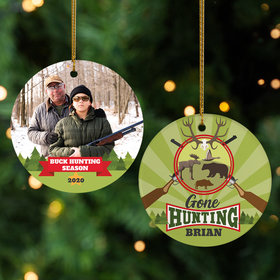 Personalized Gone Hunting Photo Christmas Ornament