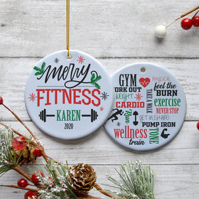Personalized 'Merry Fitness' Christmas Ornament