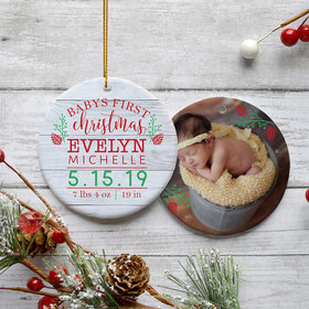 Personalized Baby's First Christmas Photo Christmas Ornament