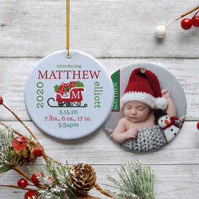 Personalized Birth Announcement Christmas Photo Christmas Ornament