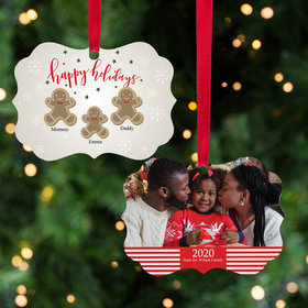 Personalized Gingerbread Family of 3 Christmas Ornament