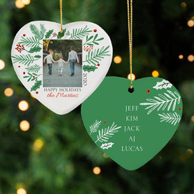 Personalized Happy Holiday Holly Christmas Ornament