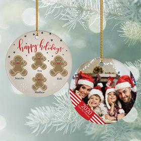 Personalized Gingerbread Family of 4 Photo Christmas Ornament