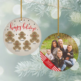 Personalized Gingerbread Family of 5 Photo Christmas Ornament