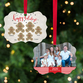 Personalized Gingerbread Family of 6 Christmas Ornament
