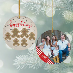 Personalized Gingerbread Family of 6 Photo Christmas Ornament