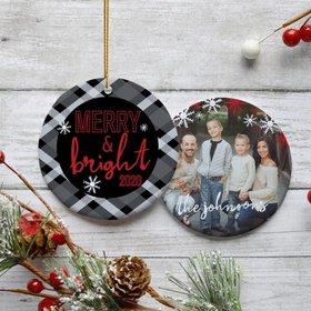 Personalized 'Merry & Bright' Family Photo Christmas Ornament