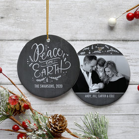 Personalized Peace on Earth Family Photo Christmas Ornament