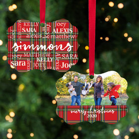 Personalized Plaid Word Cloud Photo Christmas Ornament