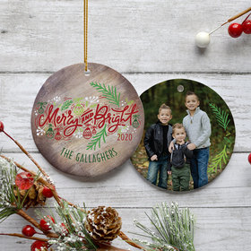 Personalized 'Merry and Bright' Family Photo Christmas Ornament