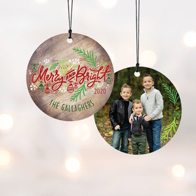 Personalized Merry and Bright Christmas Ornament