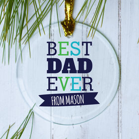 Personalized Best Dad Ever Christmas Ornament
