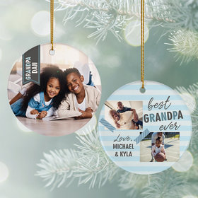 Personalized Best Grandpa Ever Photo Christmas Ornament