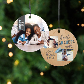 Personalized Best Grandpa Ever Christmas Ornament