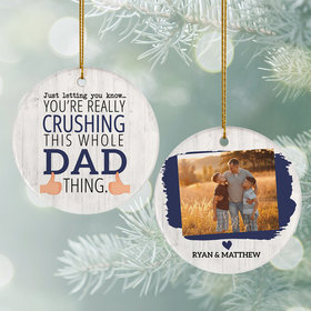 Personalized Crushing It Dad Photo Ornament