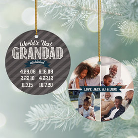 Personalized World's Best Grandad Photo Ornament