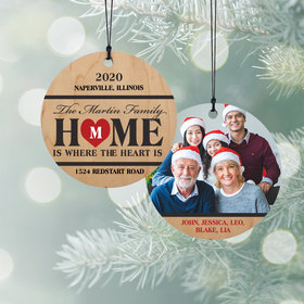 Personalized Home is where the Heart is Christmas Ornament