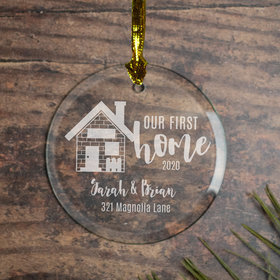 Personalized Our First Home (Etched) Christmas Ornament