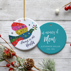 Personalized Colorful Dove Memorial Christmas Ornament