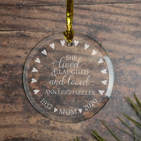 Personalized Lived Laughed Loved Christmas Ornament