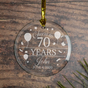 Personalized Cheers to 70 Years (Etched) Christmas Ornament
