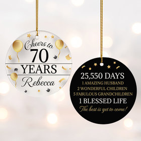 Personalized Cheers to 70 Years Christmas Ornament