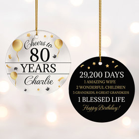 Personalized Cheers to 80 Years Christmas Ornament
