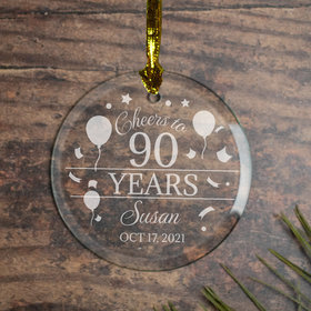 Personalized Cheers to 90 Years (Etched) Christmas Ornament