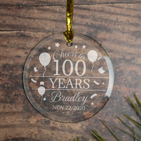Personalized Cheers to 100 Years (Etched) Christmas Ornament