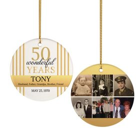 Personalized 50th Birthday Collage Photo Christmas Ornament