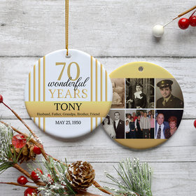 Personalized 70th Birthday Collage Photo Christmas Ornament