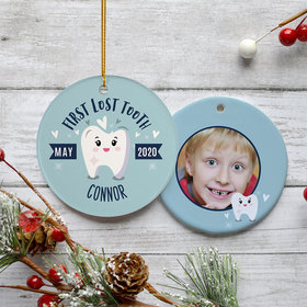 Personalized Lost Tooth Boy Photo Christmas Ornament
