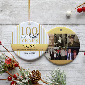 Personalized 100th Birthday Collage Photo Christmas Ornament