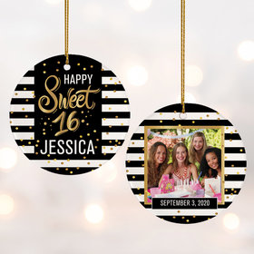 Personalized Sweet 16 Photo Christmas Ornament
