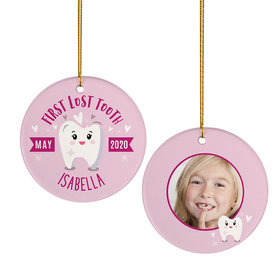 Personalized Lost Tooth Girl Photo Christmas Ornament