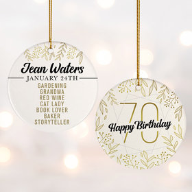 Personalized 70th Birthday Favorites Photo Christmas Ornament
