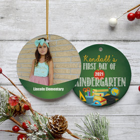 Personalized First Day of Kindergarten Photo Christmas Ornament