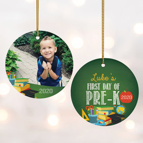 Personalized First Day of Pre-K Photo Christmas Ornament
