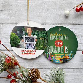 Personalized First Day of School Photo Christmas Ornament