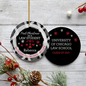 Personalized Law Student Christmas Ornament