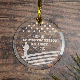 Personalized Veteran Memorial (Etched) Christmas Ornament