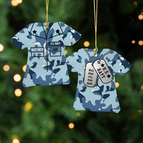 Personalized Navy Shirt Christmas Ornament