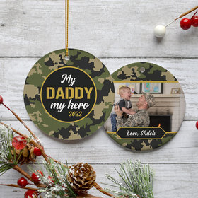 Personalized My Daddy, My Hero Christmas Ornament