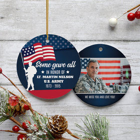 Personalized Veteran Memorial Christmas Ornament