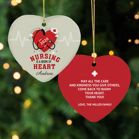 Personalized Nursing is a work of Heart Christmas Ornament
