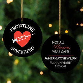 Personalized Vaccinated Frontline Superhero Christmas Ornament