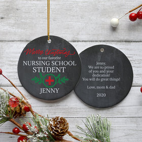 Personalized Nursing School Christmas Ornament