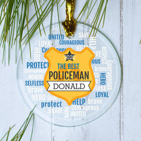 Personalized Policeman Badge Word Bubble Christmas Ornament