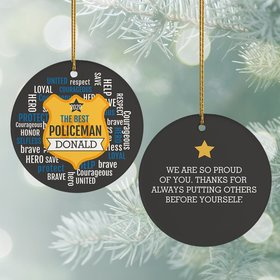Personalized Best Police Officer Christmas Ornament