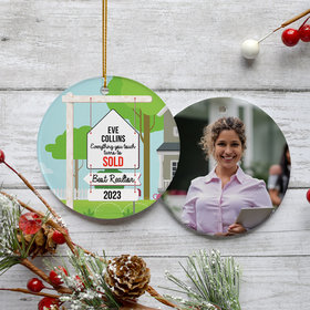 Personalized Best Realtor Christmas Ornament